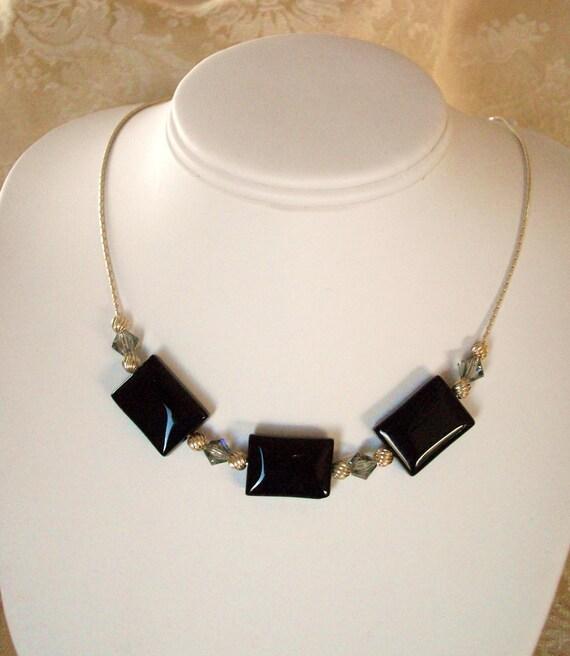 Statement NeclaceLarge / Black Onyx Necklace with Black Diamond Swarovski Crystals / Cocktail Jewelry / Handmade by Girlthree
