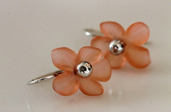 orange flower dangle earrings /handmade jewelry by girlthree