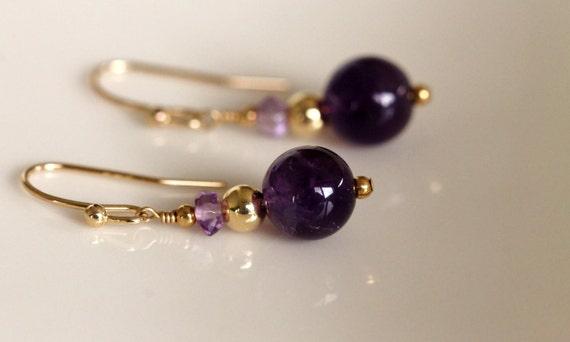 amethyst earrings 14k gold filled dangle
