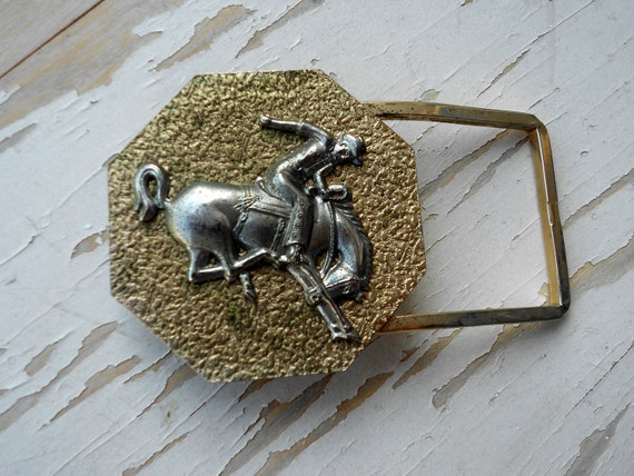 Bowing Horse and Cowboy Belt Buckle