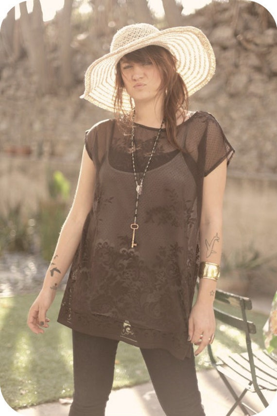 Vintage Chocolate Lace Oversized Top