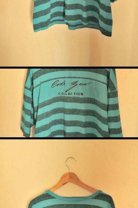 Surfin' USA Neon Blue Striped Tshirt