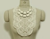 30% SALE -  Ivory lace with fabric pendant necklace