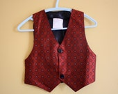 Vintage vest / waistcoat / shiny red and grey diamond pattern /  baby boy size 18 months - bondplacevintage