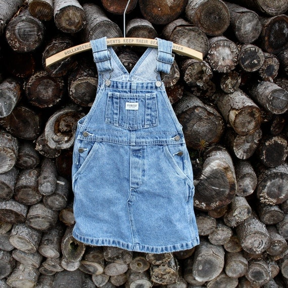 Vintage Osh Kosh Denim overall dress jumper Girls size 5