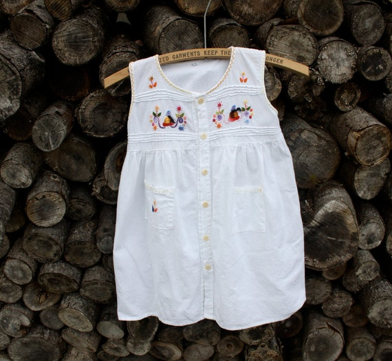 This Item Is RESERVED     Toddler peasant dress vintage boho hippie with embroidery detail size 2-3T