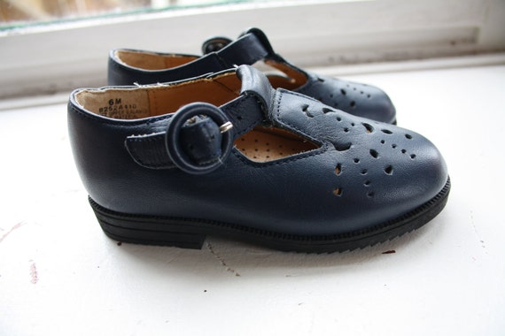 RESERVED ITEM - Vintage Mary Janes / Blue Leather Shoes / T-Strap / Toddler size 6M