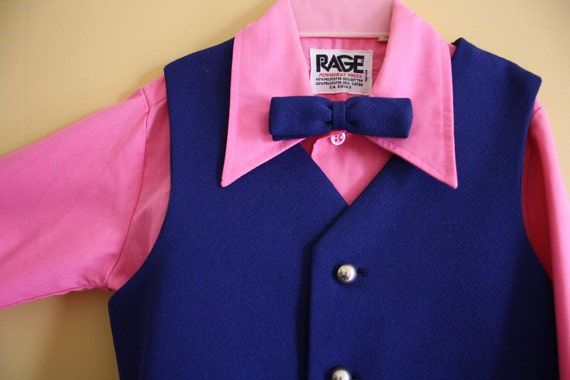 toddler vest shirt bow tie pink and navy blue