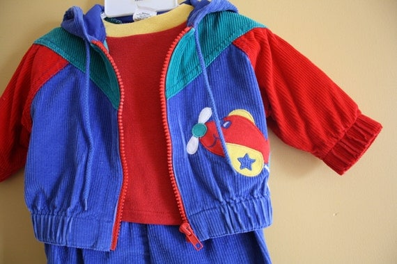 Sale - Vintage corduroy jacket shirt pants / primary colours /  colour block baby / 3 to 6 months
