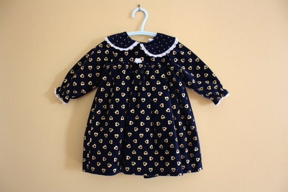 Vintage Navy Blue and Gold velveteen dress for baby girl 0 to 12 months
