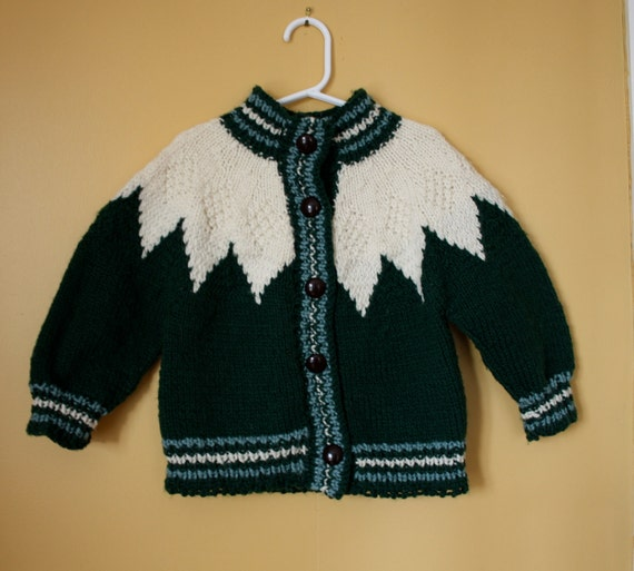 Vintage handknit green and beige sweater jacket Girl size 3T-4