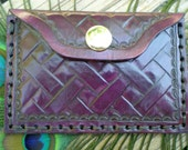 hand tooled leather wallet / coin purse / credit card case