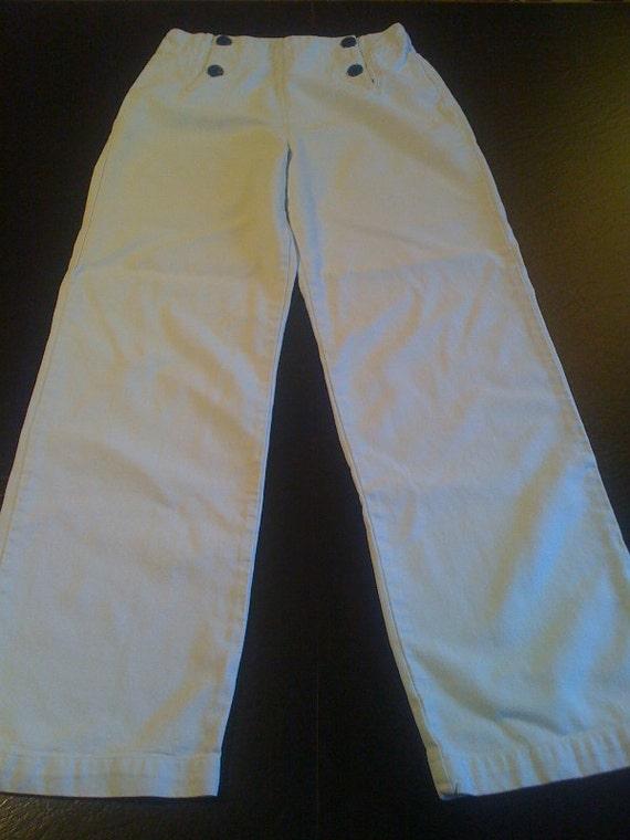 SALE -- 40s-50s style sailor pants wide leg cotton twill combed cotton S