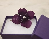 Purple flower bobby pin bridesmaids gift with Purple Hydrangea Pearl Center for Fall/Winter Wedding (set of 2)