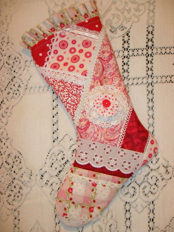 SALE - Christmas Stocking Shabby Cottage Red and White Lace Eyelet Red Button