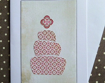 Greeting Card, Cake, Birthday, Anniversary, Greetings, Wedding, Pink, 3 Layer Cake, Handcrafted Card, Blank Card, Celebration