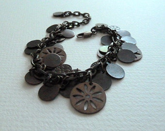 SALE ! Bracelet, Antique Brass Dangle Bracelet, Rustic Antique Brass Disc Bracelet, Brown Dangle Bracelet, Boho Style Bracelet