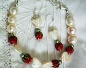 Pearl Hearts with Red Rosebuds Bracelet and Earrings, OOAK
