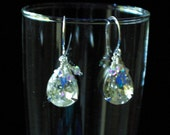 Wedding Crystal Clear Teardrop on Sterling Silver French Wires