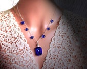 Sapphire color Necklace Set Mouth watering So Gorgeous