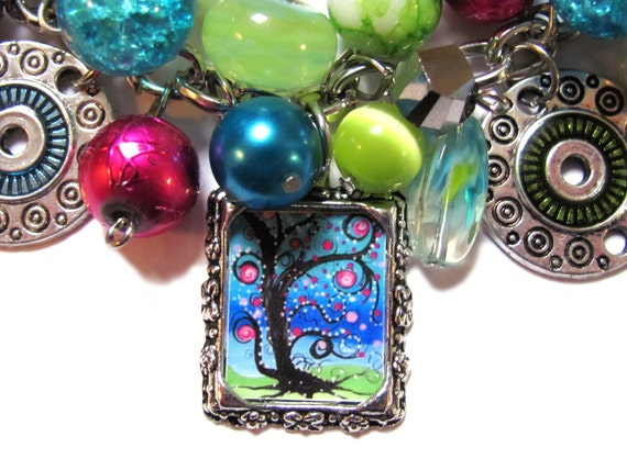 Swirly Trees Altered Art Charm Bracelet Green, Teal and Pink Beads