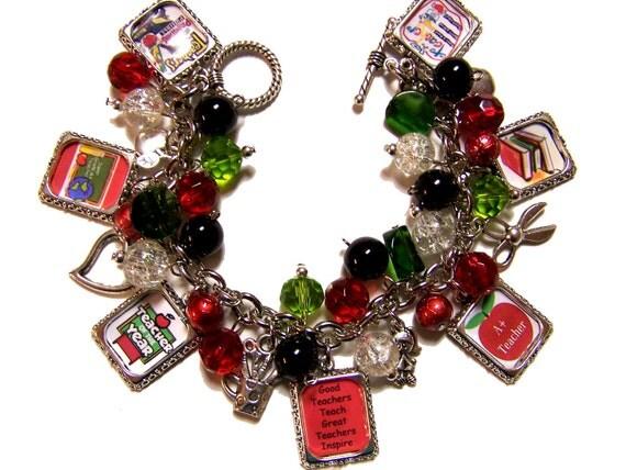 TEACHER INSPIRATIONAL Altered Art Charm Bracelet Handmade Beaded Glass