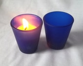 Four Soy Candles - Blue Shot Glass Candle - Pick your scent