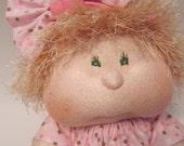 Custom Order,Dinky Baby, Soft Cloth doll, Handmade Baby Doll, Soft Sculpture Doll, Blonde Hair, Hazel Eyes