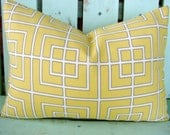 """New 12"""" X 16"""" Robert Allen canary yellow, white, grey contemporary print designer fabric- decorative pillow cover-throw pillow-accent pillow"""