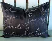 "New 12"" X 16"" Waverly Pen Pal Blackbird French Script designer fabric decorative pillow cover-throw pillow-accent pillow"