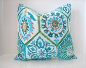 """New 16"""" X 16"""" old summer breeze outdoor designer fabric turquoise,coral,green- decorative pillow cover-throw pillow-accent pillow"""