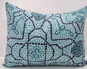 "Sale 12"" X 16"" blue, aqua, green, navy mosaic print designer outdoor indoor fabric- decorative pillow cover-throw pillow-accent pillow"