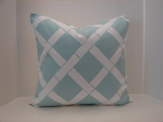 """SALE 18"""" X 18"""" Bamboo Key West Powder blue, white designer fabric- decorative pillow cover-throw pillow-accent pillow"""
