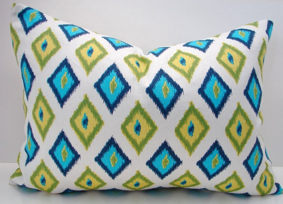 "New 12"" X 16"" turquoise, navy,green,yellow diamond  contemporary print designer fabric- decorative pillow cover-throw pillow-accent pillow"