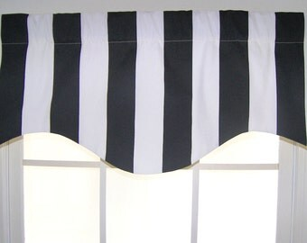 Awning Stripe Shaped Valance in Black or Navy or red, yellow, or gray