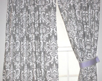 Damask Curtain  drapery panel-Comes in three different colors unlined