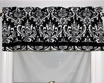Damask Banded Straight Valance- Two Colors