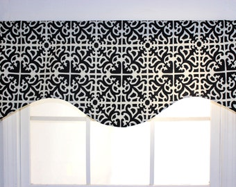 Waverly Contemporized Scroll Pattern Shaped Valance in Black and Red