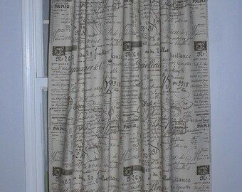 French Script drapery curtain Panel, 4 colors various sizes
