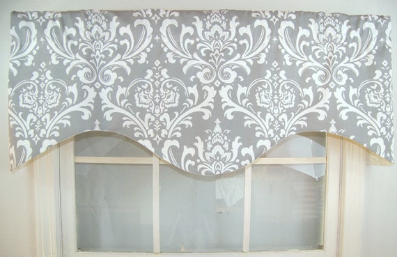 Ozzy Damask Shaped Valance In Grey Navy Or Black Brown