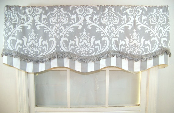 Double Layer Damash And Stripe Shaped Valance