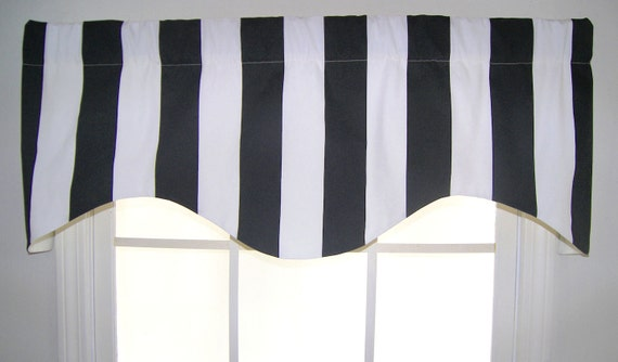 Awning Stripe Shaped Valance in Black or Navy