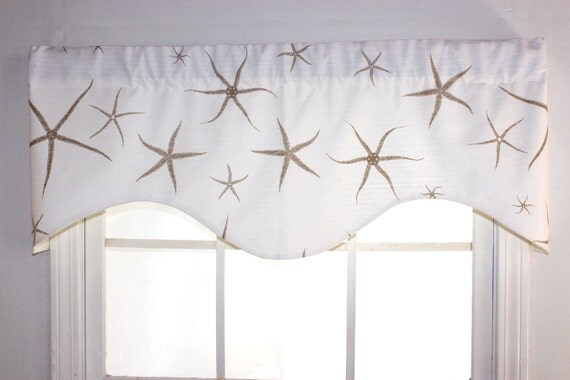 Sea Star Shaped Valance in Tan and Navy