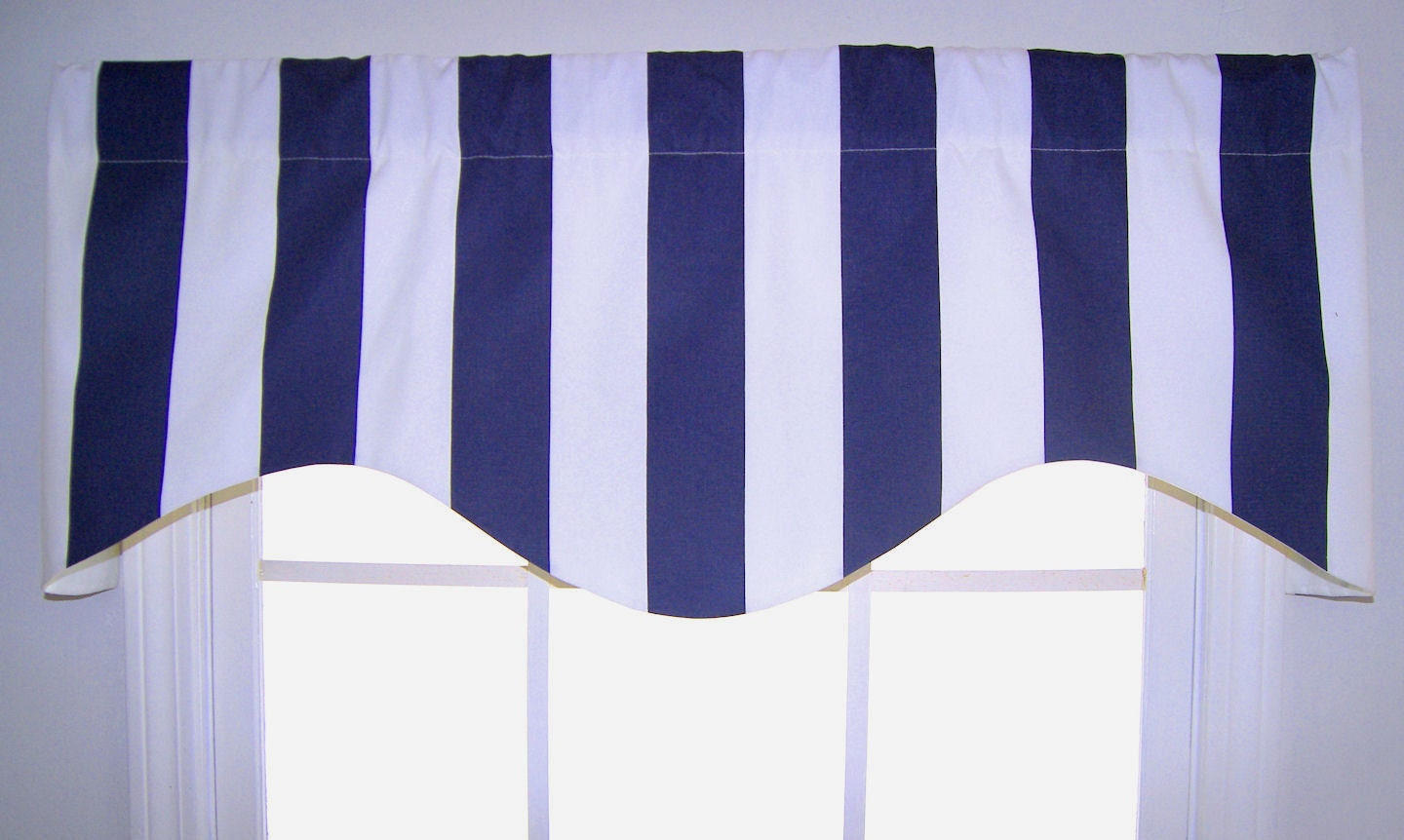 Awning Striped Shaped Valance In Navy