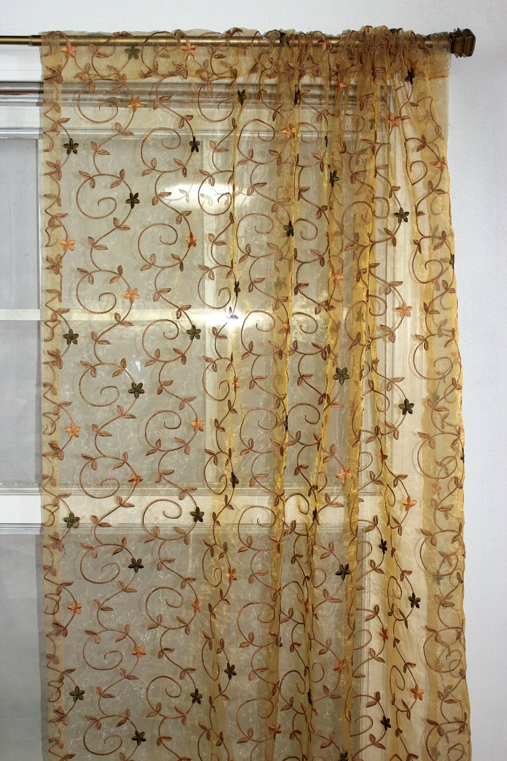 Embroidered Floral Sheer Drapery Panel Curtain Rod By Viedejolie