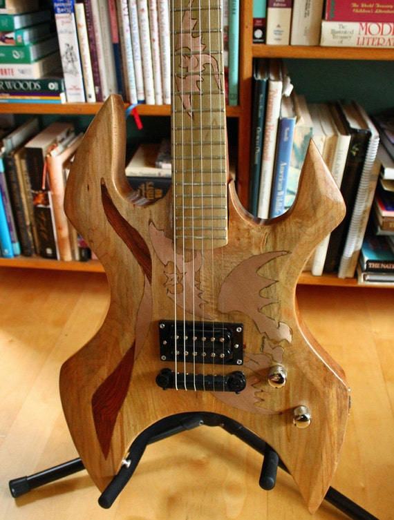 Handmade Electric Guitar with Copper Bat Inlays - Designed for the Shredder by Ethan Noll - OOAK