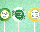 INSTANT DOWNLOAD - St Patricks Day Cupcake Toppers - DIY Printable Tags - 2 inch Party Circles - Printable File - Green, Yellow