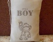 Hand Stamped Brown Monkey boy baby shower muslin favor bag announcement