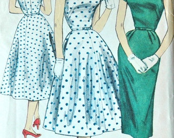 1950's Simplicity Wiggle and Rockabilly Dress Pattern - Bust 30 - no. 1615