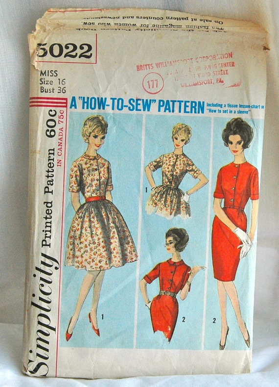 1960's Simplicity Dress with Two Skirts Pattern - Bust 36